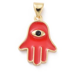 Red Enamel Pendants, with Brass Findings, Hamsa Hand/Hand of Fatima/Hand of Miriam with Eye, Golden, Red, 18.5x13.5x2mm, Hole: 3x5mm