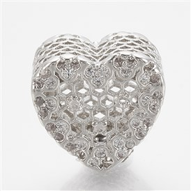 Brass Cubic Zirconia European Beads, Large Hole Beads, Heart, Clear