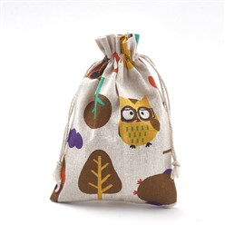 Colorful Polycotton(Polyester Cotton) Packing Pouches Drawstring Bags, with Printed Owl and Tree, Colorful, 18x13cm