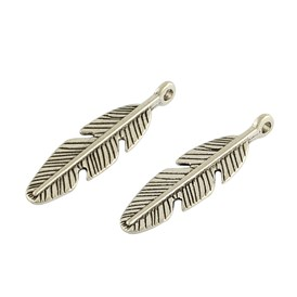 Tibetan Style Alloy Feather Pendants, Lead Free, 29x8.5x3.5mm, Hole: 2mm