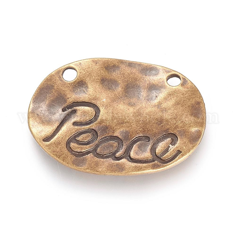 Tibetan Style Alloy Pendants, Lead Free & Nickel Free, Oval with Word Peace