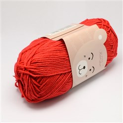 Red High Quality Soft Baby Cotton Yarns, with Cotton and PAN Fiber, Red, 1.5mm; about 40g/roll, 145m/roll, 10rolls/bag