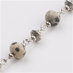 Dalmatian Jasper Natural Dalmatian Jasper Beads Handmade Chains, Unwelded, with Iron Spacer Bead, Tibetan Style Bead, Iron Eye Pin, Faceted, 17x7.5mm; 39.37 inches(1m)/strand