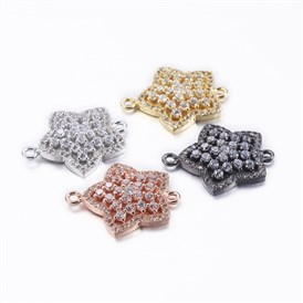 Brass Micro Pave Cubic Zirconia Links, Star