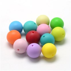 Mixed Color Food Grade Environmental Silicone Beads, Chewing Beads For Teethers, DIY Nursing Necklaces Making, Round, Mixed Color, 14~15mm, Hole: 2mm