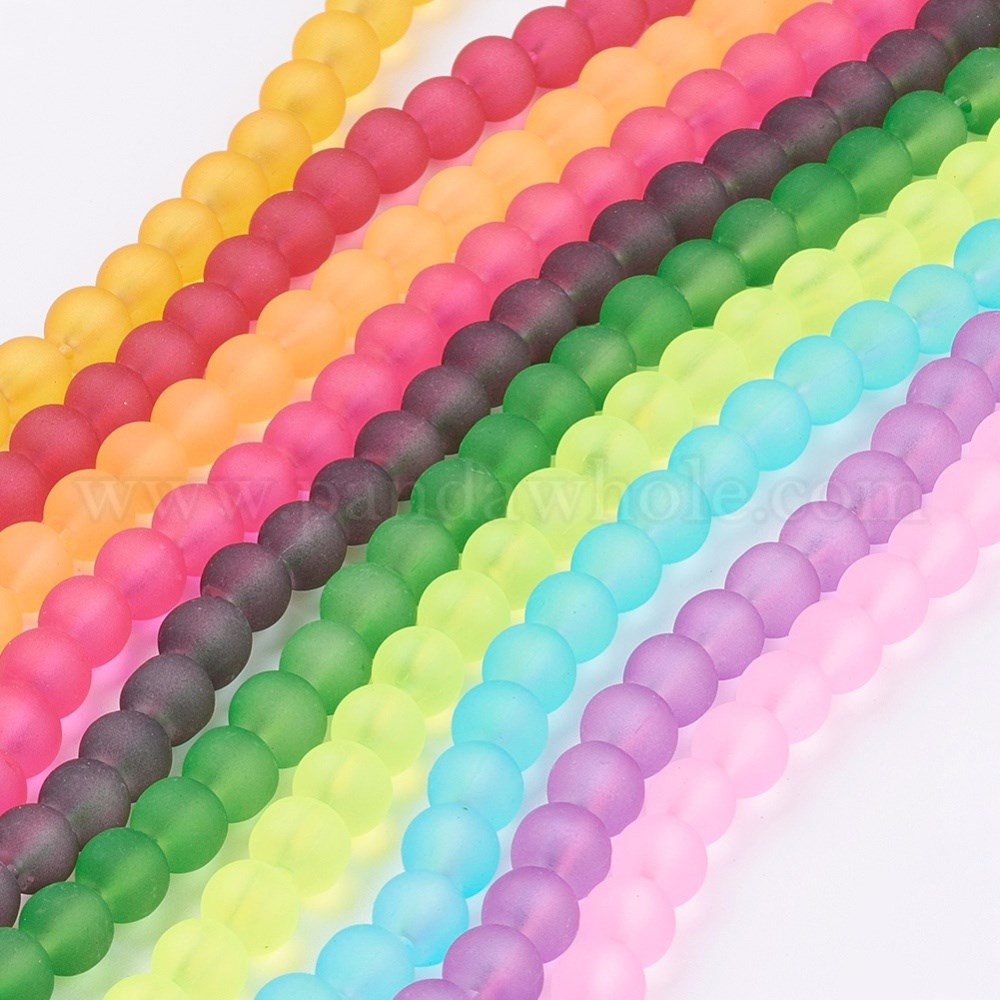 China Factory Glass Beads Strands Beads Galore Color Frosted Surface Round Beads Diy Material Crystal Beads Used For Jewellry Making 4mm Hole 1 5mm About 200pcs Strands 31 Inches In Bulk Online Pandawhole Com
