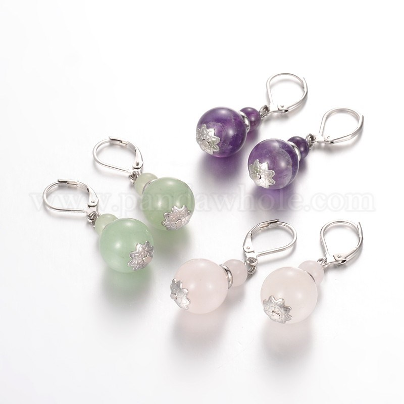 Wholesale Calabash Natural Gemstone Leverback Earrings
