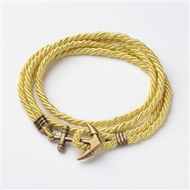 Two Loops Polyester Cord Wrap Bracelets, with Anchor Antique Bronze Tone Alloy Findings, 415x3mm