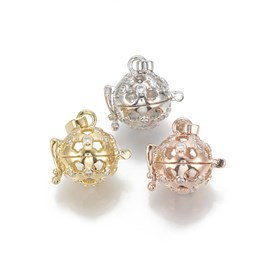 Brass Cage Pendants, For Chime Ball Pendant Necklaces Making, with Micro Pave Cubic Zirconia, Hollow Round, Clear