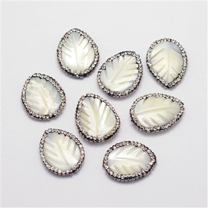 Shell Beads, with Polymer Clay Rhinestones, Leaf-1