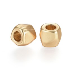 Matte Gold Color Alloy Beads, Lead Free & Nickel Free & Cadmium Free, Barrel, Real Gold Plated, Matte Gold Color, 7x8mm, Hole: 3.3mm