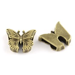 Antique Bronze Tibetan Style Alloy Butterfly Slide Charms, Cadmium Free & Nickel Free & Lead Free, Antique Bronze, 16x19x5mm, Hole: 11x2mm