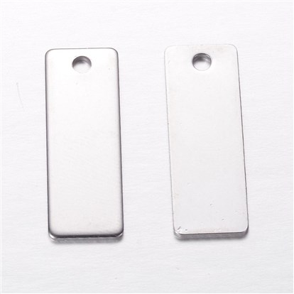 304 Stainless Steel Pendants, Rectangle, Blank Stamping Tag Pendants, 25x9x1mm, Hole: 2mm-1