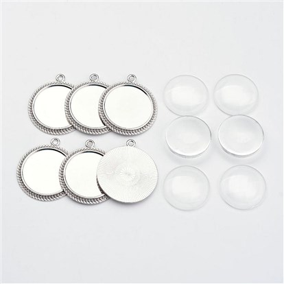 Tibetan Style Flat Round Alloy Pendant Cabochon Settings, Clear Glass Cabochons-1