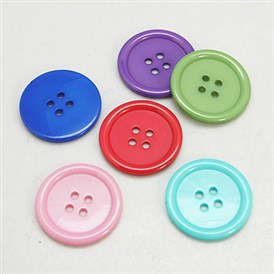 Resin Buttons, Dyed, Flat Round