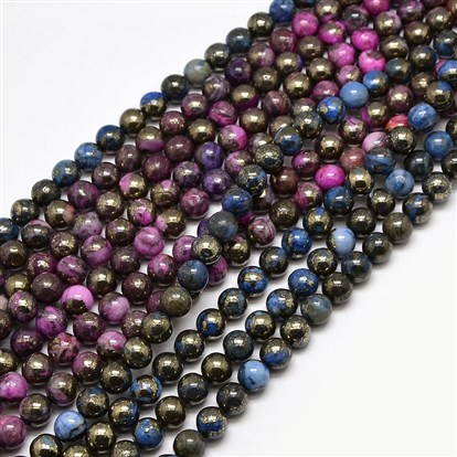 Electroplate Gemstone Natural Pyrite Round Beads Strands, Dyed-1