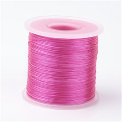 HotPink Japanese Flat Elastic Crystal String, Elastic Beading Thread, for Stretch Bracelet Making, HotPink, 0.5mm; about 300m/roll