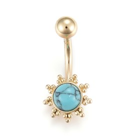 Piercing Jewelry, Brass Navel Ring, Belly Rings, with Synthetic Turquoise & Stainless Steel Findings