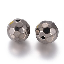 Alloy Beads, Faceted, Round