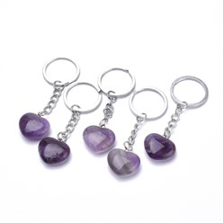 Amethyst Natural Gemstone Key Chains, with Iron Findings, Heard, 80mm