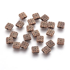 Tibetan Style Alloy Square Beads, Lead Free, 6.5x6.5x3mm, Hole: 1.5mm; about 1720pcs/1000g