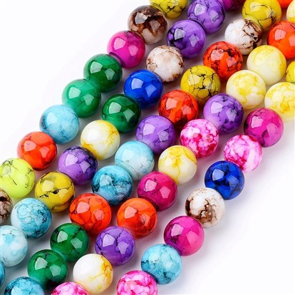 Spray Painted Glass Beads Strands, Round-1