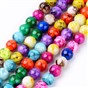 Spray Painted Glass Beads Strands, Round
