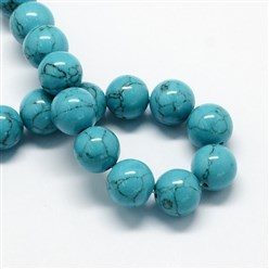 DarkTurquoise Dyed Synthetic Turquoise Gemstone Bead Strands, Round, DarkTurquoise, 6mm, Hole: 1mm; about 66pcs/strand, 15.7""