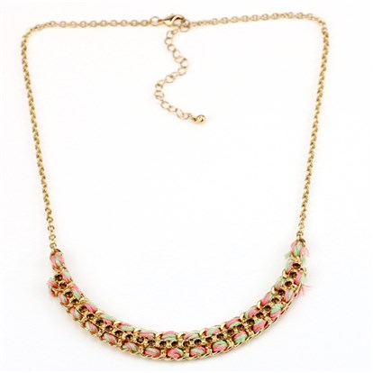 18K Gold Plated Alloy Bib Necklaces, with AAA Czech Rhinestone-1