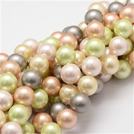 Shell Pearl Bead Strands, Grade A, Round, 10mm, Hole: 1mm; about 40pcs/strand, 16
