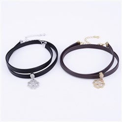 "Mixed Color PU Leather Cord Choker Necklaces, with Brass Micro Pave Cubic Zirconia Pendants and Lobster Claw Clasps, Clover, Mixed Color, 13.38""(34cm)"