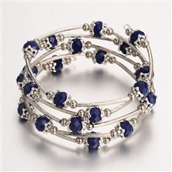 DarkBlue Five Loops Wrap Glass Beads Bracelests, with Metal Findings, DarkBlue, 56mm