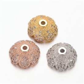 Environmental More-Petal Flower Brass Micro Pave Cubic Zirconia Bead Caps, Lead Free & Nickel Free, 11x4.8mm, Hole: 1mm