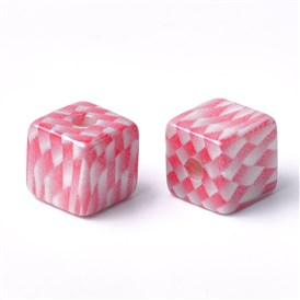 Printed Acrylic Beads, Cube with Tartan Pattern