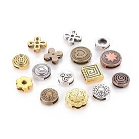 Tibetan Style Slide Charms, Mixed Shapes, 10~19.5x8~16x2.5~5.5mm, Hole: 1.5~8x5~11mm