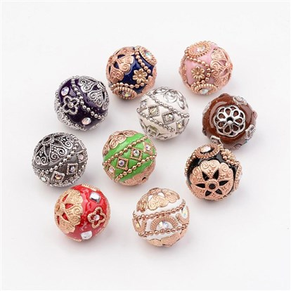10 Pcs Handmade Indonesia Bead Sets, Round, with Alloy Findings, 19~20mm, Hole: 2mm-1