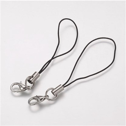 Cord Loop, with Alloy Lobster Claw Clasps, Iron Ring and Nylon Cord