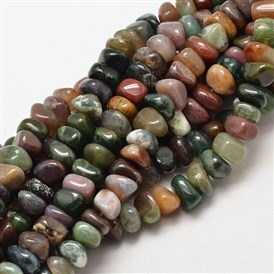 Natural Indian Agate Chip Beads Strands, 7~9x7~9mm, Hole: 1mm; about 72~83pcs/strand, 15.7""