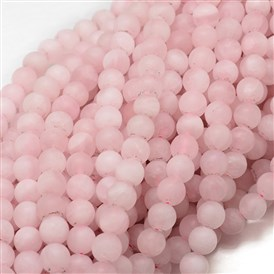 Frosted Natural Rose Quartz Bead Strands, Round