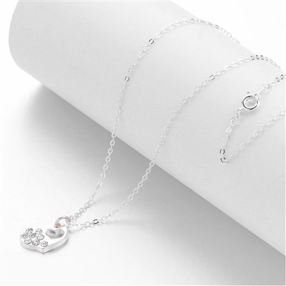 Alloy Rhinestone Pendant Necklaces, Heart, with Brass Chains-1