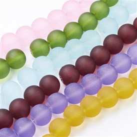 Transparent Glass Beads Strands, for Beading Jewelry Making, Frosted, Round