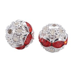 Hyacinth Brass Rhinestone Beads, Grade A, Silver Metal Color, Round, Hyacinth, 8mm, Hole: 1mm; 20pcs/box