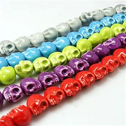 Mixed Color Handmade Porcelain Beads Strands, Bright Glazed Style, Skull, Halloween, Mixed Color, about 15mm wide, 18mm long, 18mm thick, Hole: 1.5mm