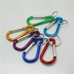 Mixed Color Aluminum Oval Carabiner Keychain, with Iron Clasps, Mixed Color, 60.5x29mm