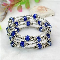 Blue Fashion Wrap Bracelets, with Rondelle Glass Beads, Tibetan Style Bead Caps, Brass Tube Beads and Steel Memory Wire, Blue, Inner Diameter: 55mm