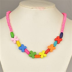 Pink Colorful Wood Necklaces for Kids, Children's Day Gifts, Stretchy, Pink, 18 inches