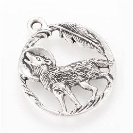 Alloy Pendants, Flat Round with Wolf, Lead Free & Cadmium Free