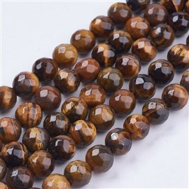 Natural Tiger Eye Round Bead Strands, Faceted