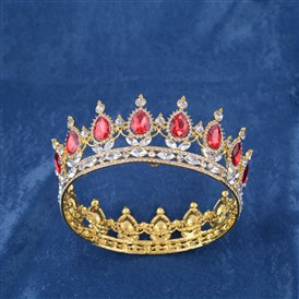 Fashionable Wedding Crown, Golden Plated Alloy Hair Bands, Bridal Tiaras, with Rhinestone & Glass