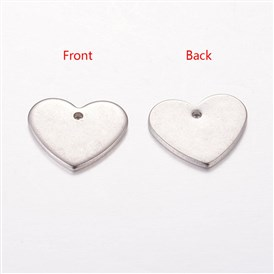 Handmade Valentines Day Gifts Ideas for Him 304 Stainless Steel Blank Stamping Tag Pendants, 13x11x1mm, Hole: 1mm